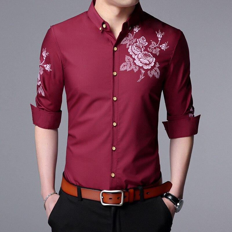 Fashion Brand Men Clothes Slim Fit Men Long Sleeve Shirt Men Cotton Casual Men Shirt Social Plus Size M-4XL