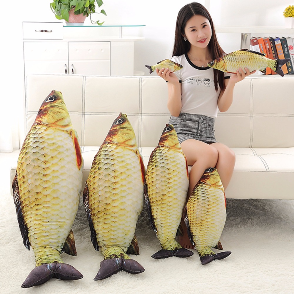 1pc 60cm 80cm Kawaii Simulation Crucian Plush Animals Toys Stuffed Plush Fish Pillow Sofa Cushion Birthday