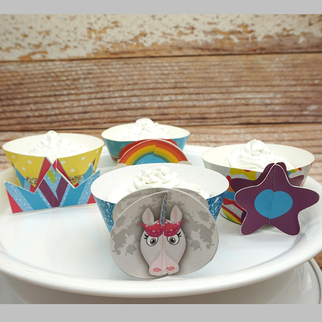 Paper 8pcsset Rainbow Unicorns Cupcake Wrappers Birthday Wedding