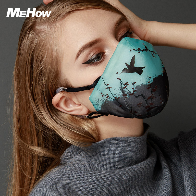 MeHow Black with Green Flying Bird Mouth-muffle Women PM2.5 Anti Haze Dust Nose Face Mask Respirator Dust Mask Thermal mask 300pcs anti fog dust disposable masks medical anti dust surgical face mouth face mask respirator for man women