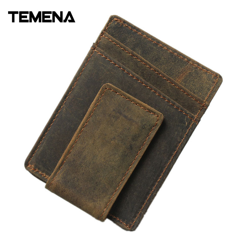 Temena Vinage Genuine Leather Credit Card&ID Card Holder Wallet Business Bank Card Bag Case Coin Purse Unisex Men&Women CCH264