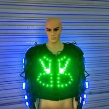 Новый Дизайн синий и зеленый свет костюм световой Костюмы загораются робота Костюмы Одежда для танцев