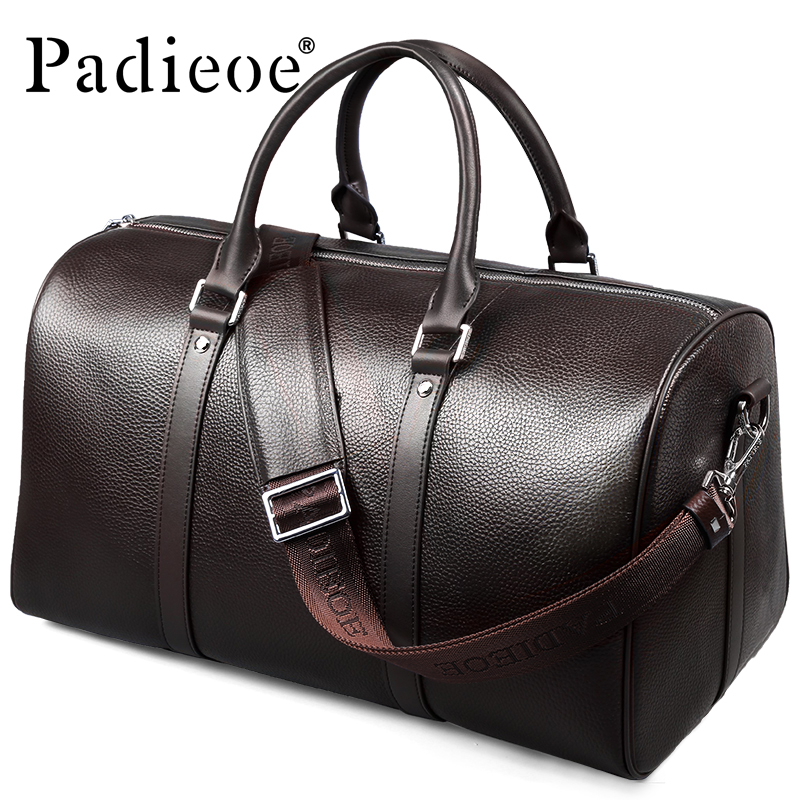 Padieoe 2017 Famous Brand Men's Travel Bag Vintage Genuine Leather Fashion Men Handbag Shoulder Bag Luxury Tote Bags for Male aosbos fashion portable insulated canvas lunch bag thermal food picnic lunch bags for women kids men cooler lunch box bag tote