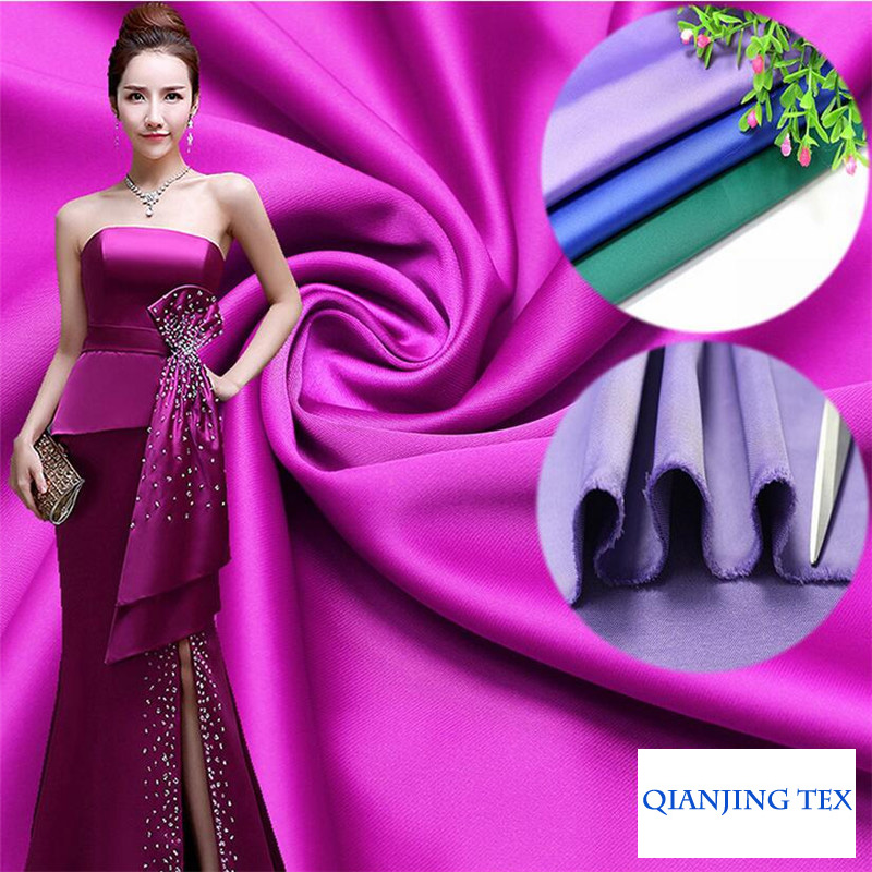 Polyester Spandex Matt Satin Fabric Matte Glatt Heavy Thinck God Drapery For Evening Dress Wedding