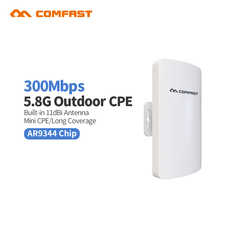 3KM Comfast CF-E120AV3 Mini 300Mbps 5.8G Wireless CPE WIFI Router Outdoor WIFI Repeater 11dBi Antenna PoE Long Distance WIFI CPE