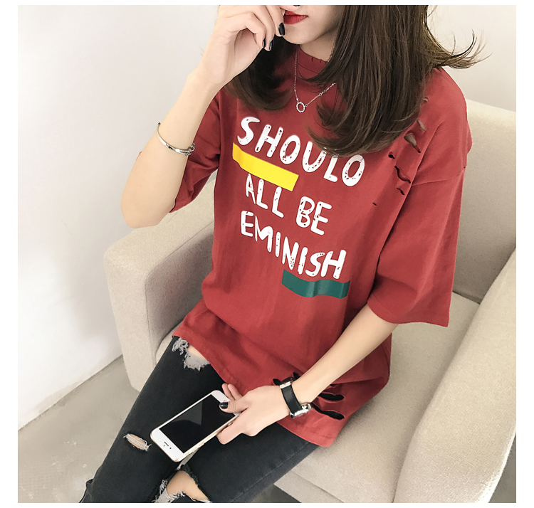 XL- 4XL 2019 new plus size summer loose High Street hole Letter print short sleeve O-Neck women T-shirt top tee TY5 30