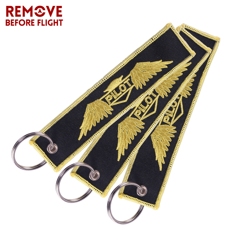 3PCS Remove Before Flight Chaves Keychain Pilot Embroidery