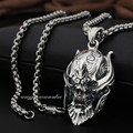 Big king Vampire Demon Skull 925 Sterling Silver Pendant 8Q001(Necklace 24inch)
