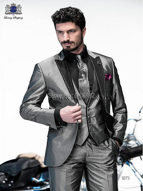 Online Shop Customize Made silver grey Groom Tuxedos Elegant ...