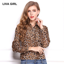 LIVA GIRL women blouse 2017 Summer fashion Leopard blusa Long sleeve Turn-down Sexy shirt plus size Tops Work clothes