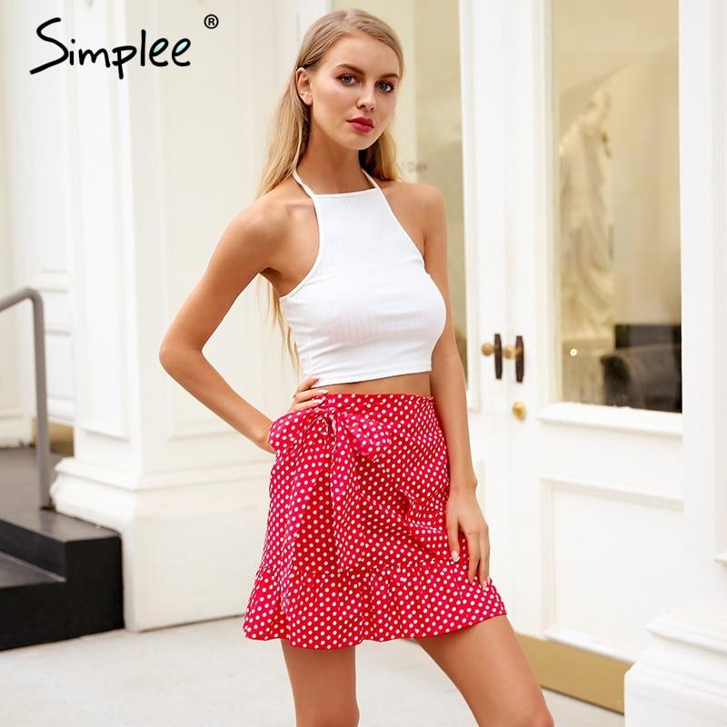 Simplee Polka Dot Wrap Skirts Women Floral Print Summer Style Mini Skirt Streetwear Ruffle High Waist Short Skirt Female 2018