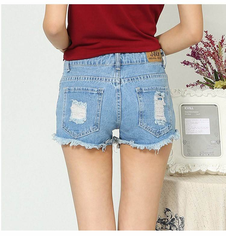 Fashion women Korean summer denim shorts sexy punk rivet hole mini jeans shorts soft bottom plus size female blue shorts A160 9