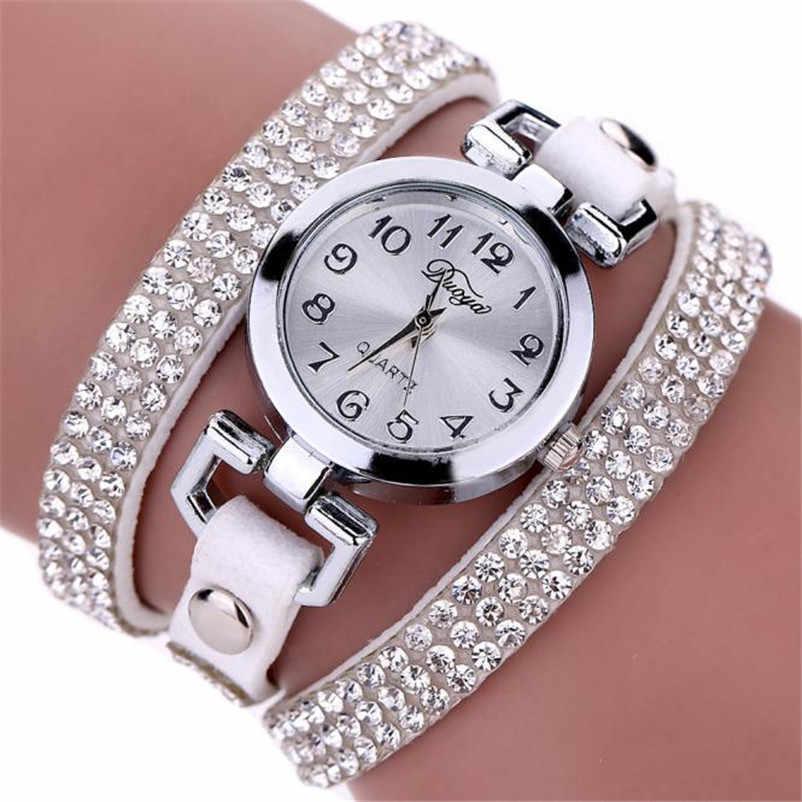 Haute qualité femmes Montre décontractée à la mode de luxe robe dames en cuir bande analogique Quartz Montre-bracelet horloge Montre femme O10