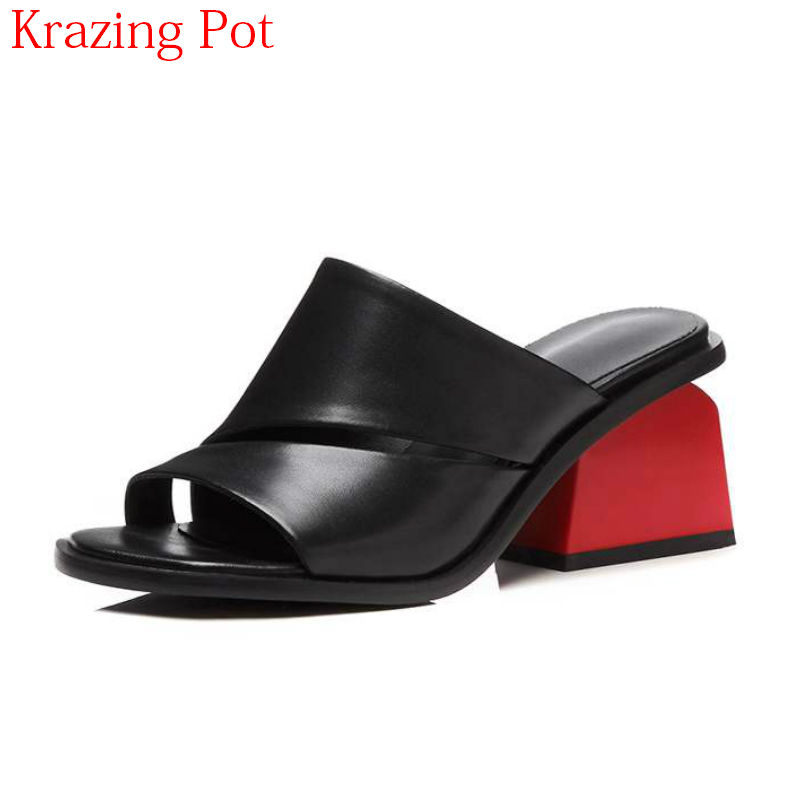 2019 Fashion Large Size Genuine Leather Mixed Colors Summer Shoes Round Peep Toe Mules Med Heels