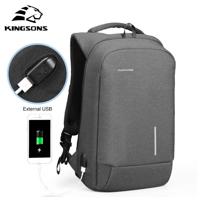 Kingsons 13'' 15'' External USB Charging Laptop Backpacks School Backpack Bag Men Women Travel Bags