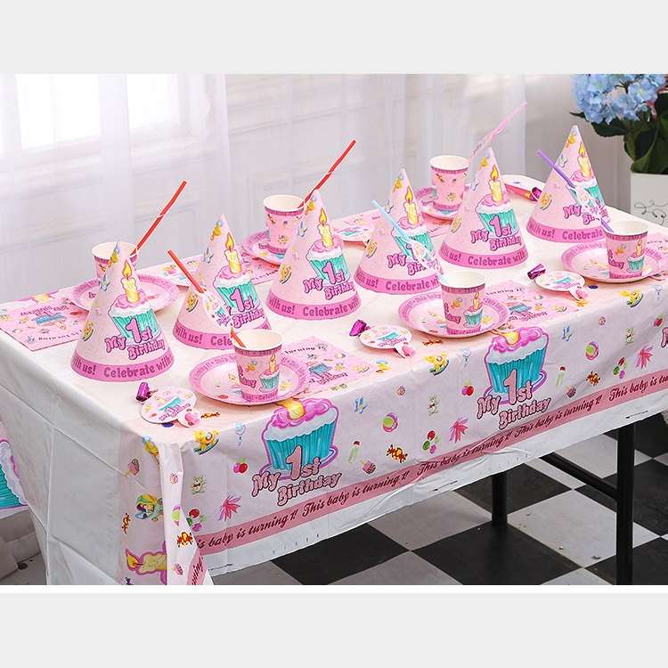 My 1st Birthday Theme Tableware Set Baby Boy Girl Party Supplies 10 Person Sullpies Plates Cups Tablecloth