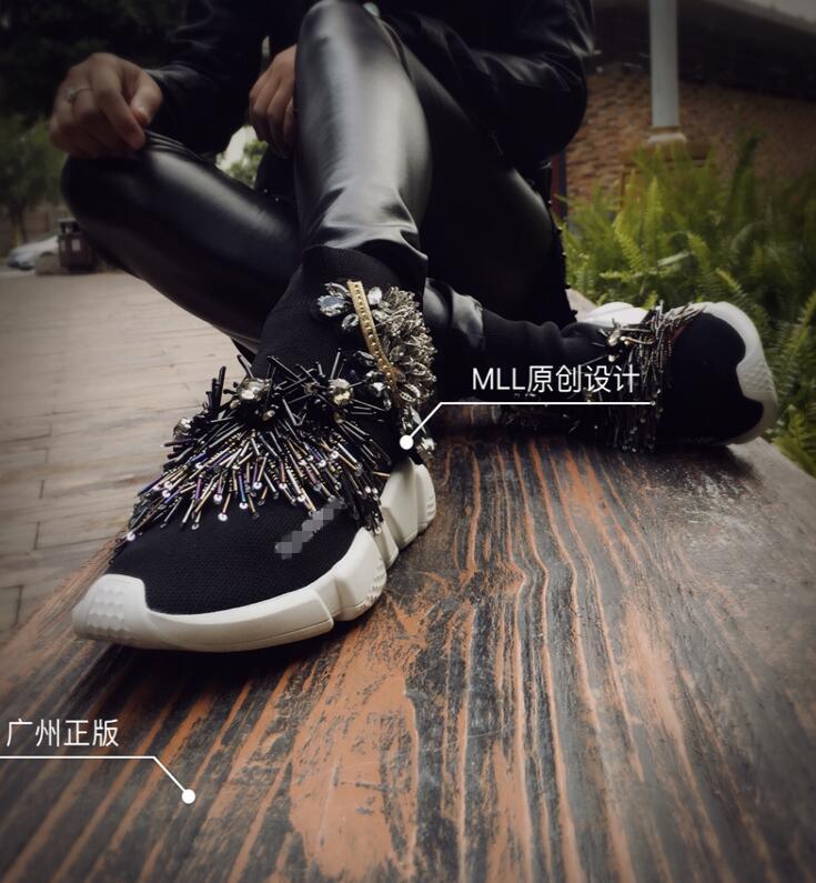 Casual Gland Coréenne Perlé Marée Version Plat La Chaussettes Chaussures Manches Noir Élastique Strass Tricot Nouvelle De Femmes 7qRxB0
