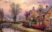 Free shipping Thomas Kinkade prints reproduction villa landscape painting nice home wall decor