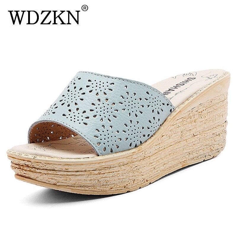 WDZKN New Platform Wedge Sandals Women Summer Slippers 2018 Fashion Hollow Out Gladiator Sandals Women Split Leather High Heels floral backless hollow out high split maxi dress