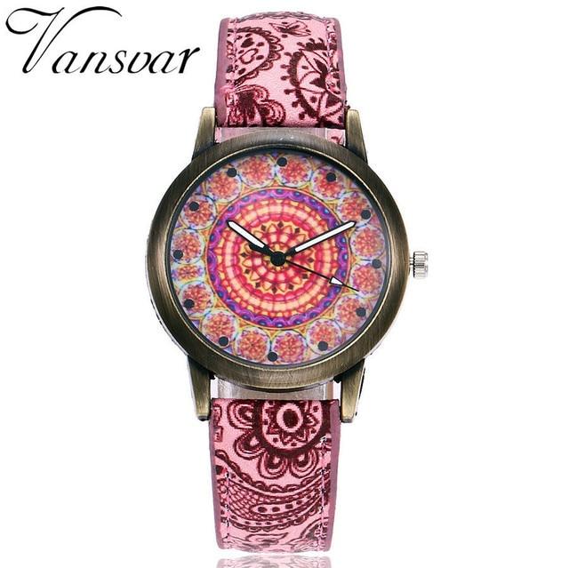 Dropshipping Women Creative Flower Watches Ladies Fashion Casual Leather Quartz Wristwatches Gift Clock Relogio Feminino Hot 2