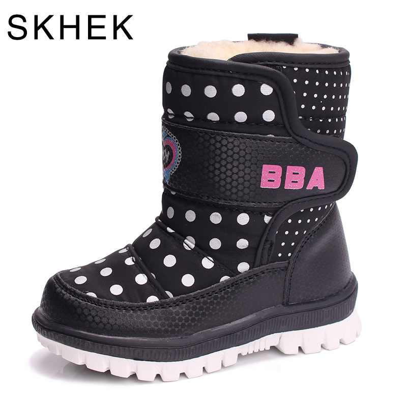 Image 2 - SKHEK  botas boots winter boy girl rubber snow boots children s shoes flat with plush cotton warm baby shoes1751-in Boots from Mother & Kids on AliExpress