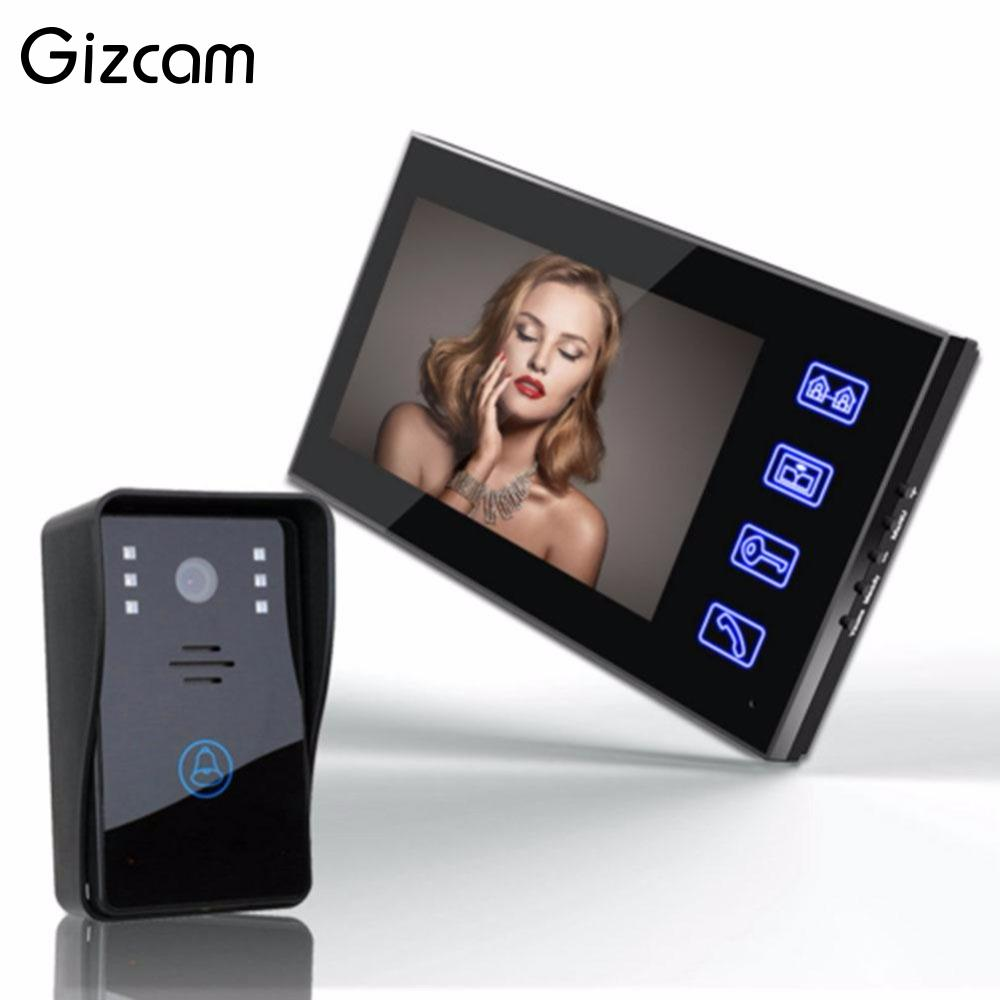 Gizcam Professional Wireless 7 inch Screen Video Doorbell Intercom Phone APP System Remote Control Security Anti theft Camera
