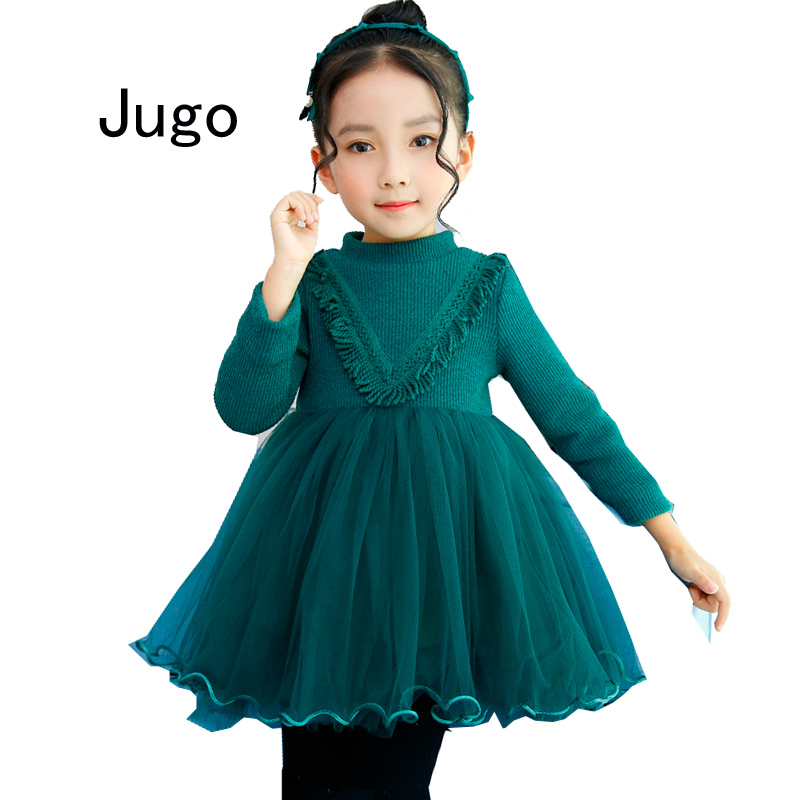 Girls Kids Clothes New 2017 Autumn Winter Princes Dress For Girls Long Sleeve Knitted Sweater Lace Ball Gown Dress Green Pink 52 girls full sleeve dress for autumn and winter children army green dress causal dress for baby kids outfit clothes