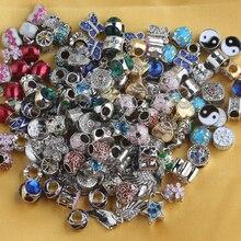50 Stuks Willekeurige Gemengde Metalen Kleurrijke Crystal Cz Enamel Europa Big Hole Bedels Fit Ketting Charme Armbanden Voor Vrouwen sieraden