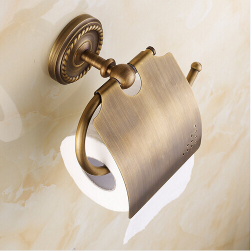High Quality antique toilet paper holder copper paper towel holder tissue box bathroom hardware luxury paper roll holder copper open toilet paper tissue towel roll paper holder silver