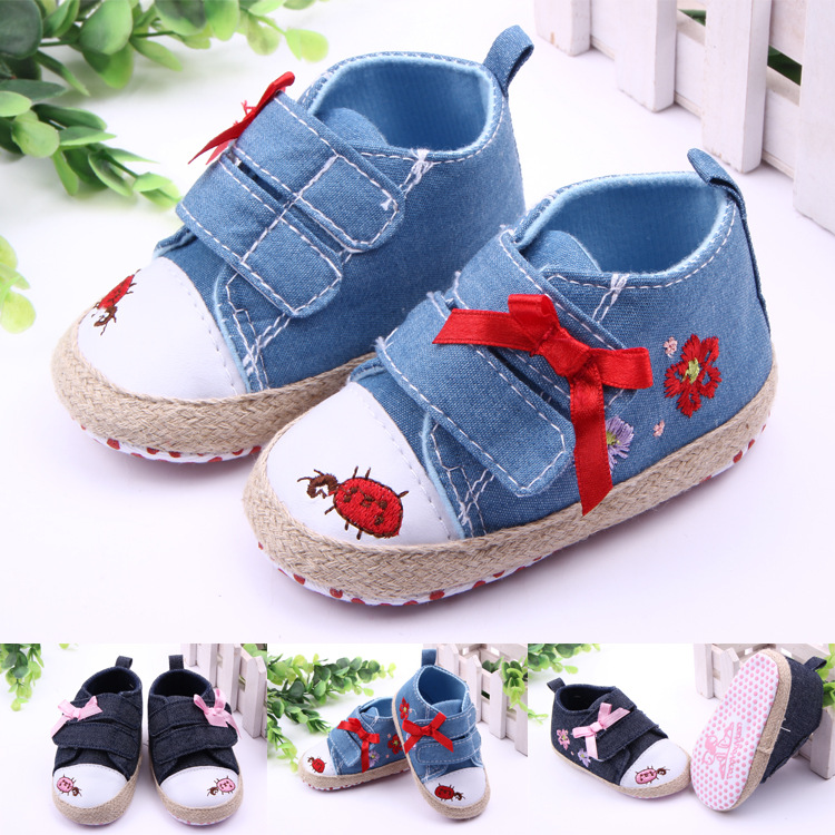 Classic Children Baby Kids Boy Girl Cartoon Embroidery Flower Floor Shoes Autumn Fashion Non-Slip Soft Toddlers First Walkers