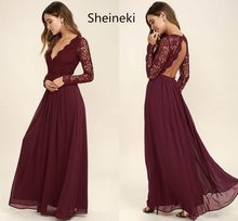 14f582f17d Burgundy Chiffon Bridesmaid Dresses Long Sleeves Summer Country Style V-Neck  Backless Long Beach Lace Top Wedding Party Dresses