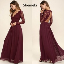 Burgundy Chiffon Bridesmaid Dresses Long Sleeves Summer Country Style V Neck Backless Long Beach Lace Top