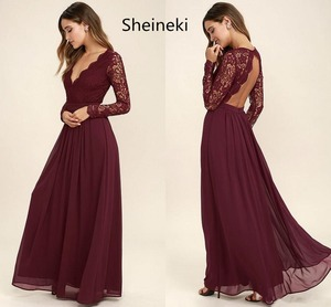 Burgundy Chiffon Bridesmaid Dresses Long Sleeves Summer Country Style V-Neck Backless Long Beach Lace Top Wedding Party Dresses(China)
