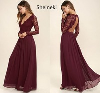 Burgundy Chiffon Bridesmaid Dresses Long Sleeves Summer Country Style V Neck Backless Long Beach Lace Top Wedding Party Dresses