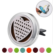 Love heart Stainless Steel Car Air Freshener Perfume Essential Oil Diffuser Locket Random Send 1pcs Oil Pads Gift Girl Jewelry(China)