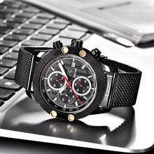 BENYAR Sport Chronograph Watches Men Mesh Band Multifunction Waterproof Quartz Watch