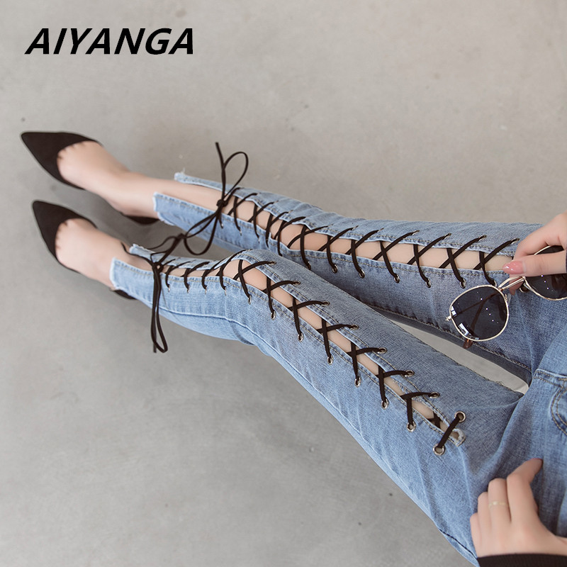 <font><b>Women</b></font> Jeans <font><b>2018</b></font> Summer Fashion Hollow Out Cross Strap Bandage Denim Pencil <font><b>Pants</b></font> Ladies Mid Waist <font><b>Sexy</b></font> Lace Up Hole Tight Jeans image
