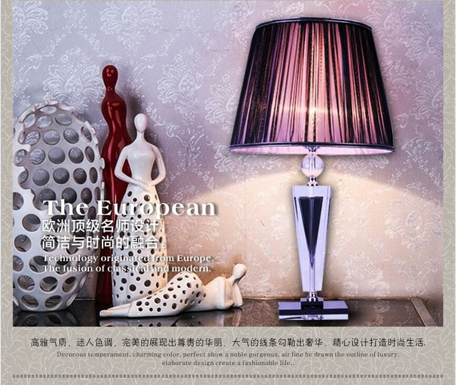 Large Fashion Modern Crystal Table Lamp Bedroom Bedside Lamp Decoration Lamp  Living Room Lights Mysterious Purple