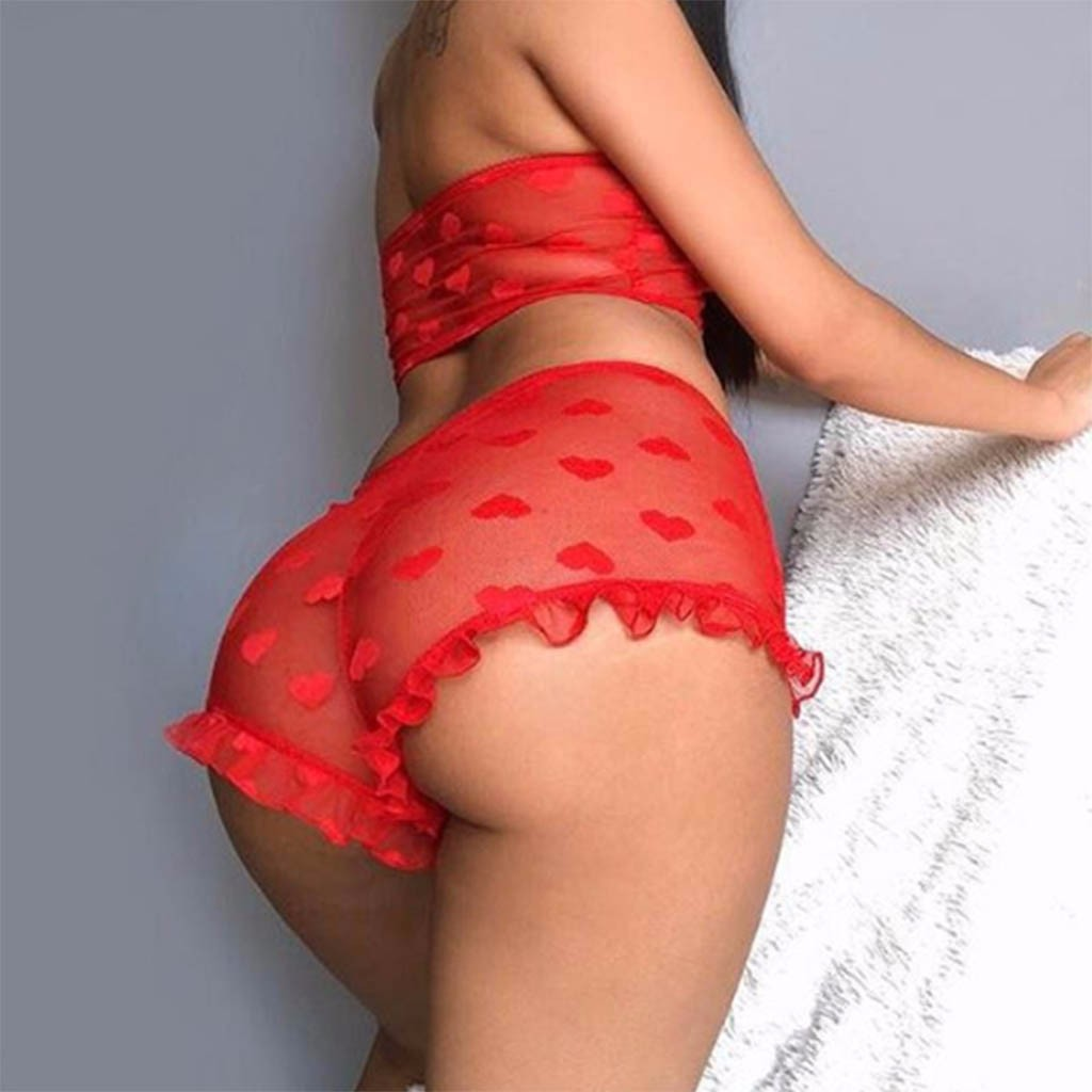 2Pcs Women Flower Sexy Satin Lace Sleepwear Babydoll Lingerie Sweater Pajamas Set Heart Cute See Throught Lace Babydoll Mulheres