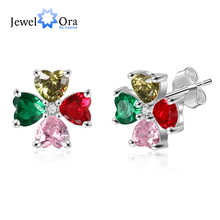 Personalized Flower Stud Earrings with 4 Heart Birthstones DIY Customized 12 Month for Women (JeweloraEA103253)