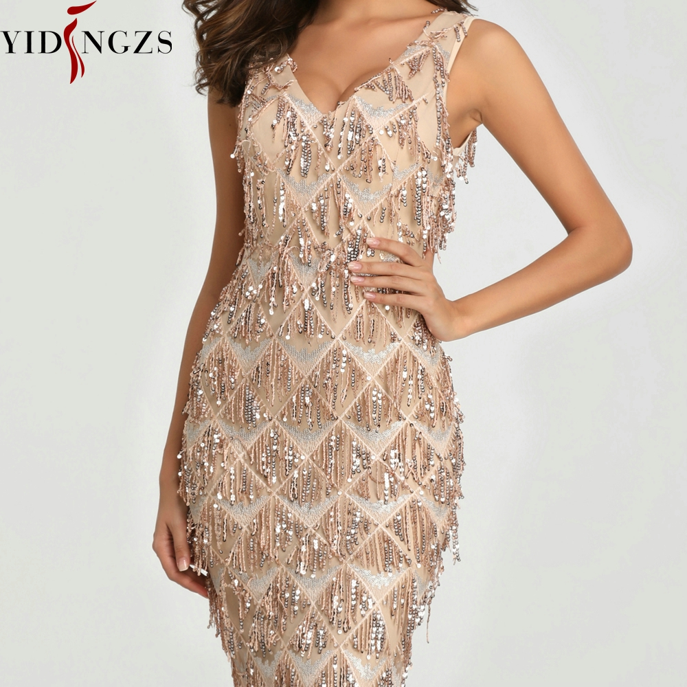Image 3 - YIDINGZS 2019 Sexy V neck Tassel Sequin Sleeveless Evening Dress Women Elegant Long Evening Party Dress YD633-in Evening Dresses from Weddings & Events