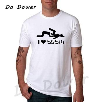 ¡Moda 2018! Camiseta para Hombre con estampado de I Love Sushi, Camiseta 100% de algodón con cuello redondo, camiseta Casual Harajuku, Camisetas para Hombre Hip-hop