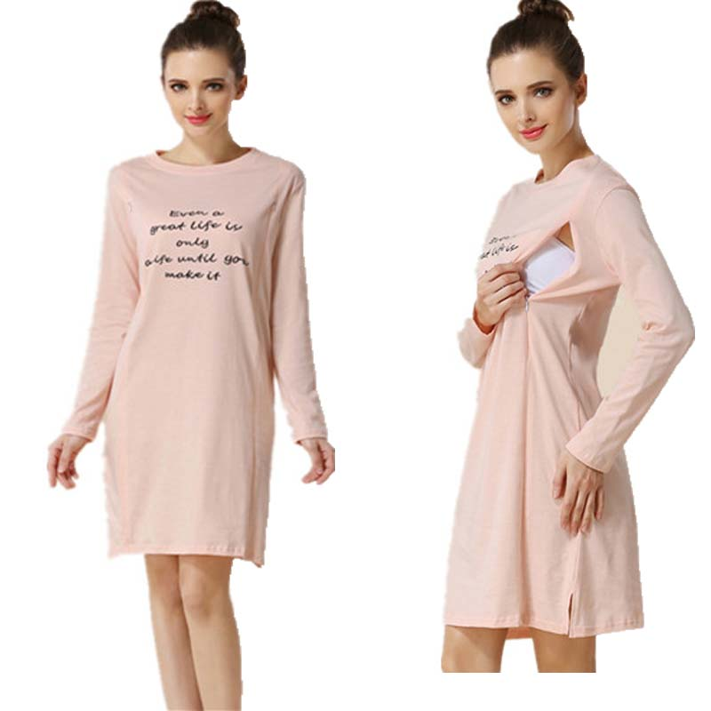 NewCasual Breastfeeding Dress Long Sleeve Cotton Maternity Nursing Dress Letter Dress For Pregnancy Clothes White Pregnant Dress summer patchwork dress cotton printed breastfeeding nursing dresses for pregnant women maternity dress for pregnancy mother