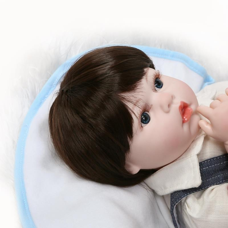 22 Inch Blue Eyes Reborn Baby Girl Soft Silicone Newborn Babies Doll Toy with Magnetic Mouth Kids Birthday Xmas Gift pink romper 20 inch reborn babies girl lifelike silicone newborn dolls realistic doll toy with blue eyes kids birthday xmas gift