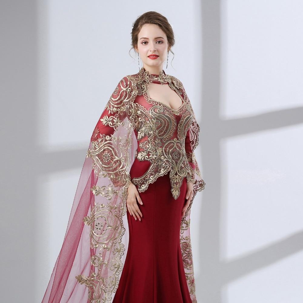 Burgundy Arabic Mermaid Evening Dresses 2019 Robe De Soiree - Särskilda tillfällen klänningar - Foto 6