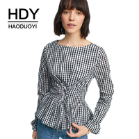 HDY Haoduoyi Plaid Women Casual Ruffles Shirts Adjustable Waist Elastic Lace Up Female Sweet Blouses O