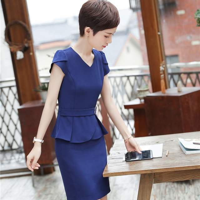 180918420a4d placeholder Summer Short Sleeve Formal Uniform Styles With 2 Piece Tops And Skirt  Career Interview Job Ladies