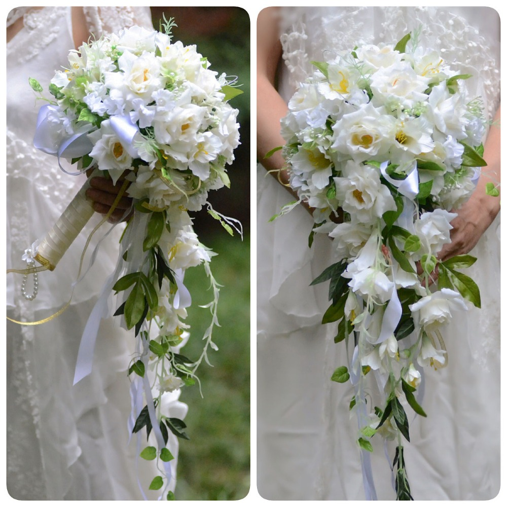 Ayicuthia 2018 Waterfall White Wedding Flowers Bridal Bouquets