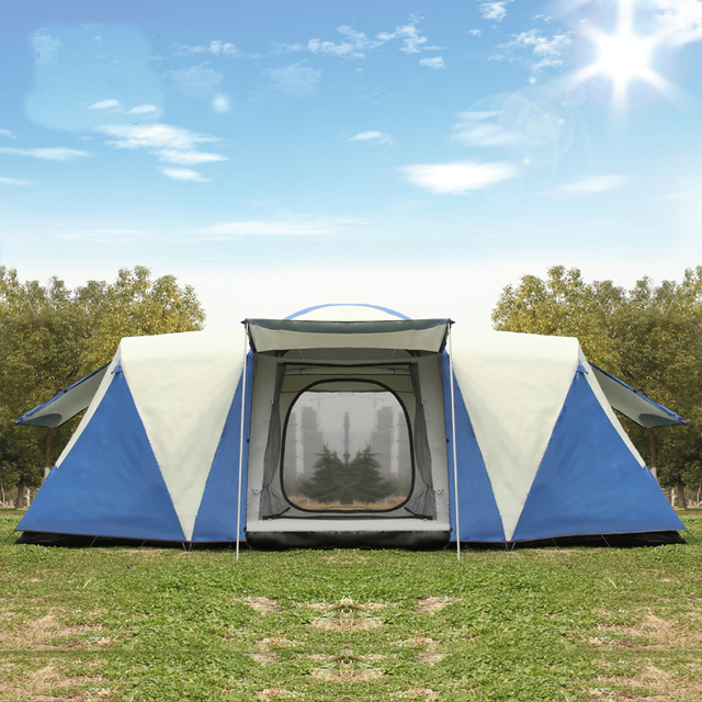 Ultra 8 12 Person Einer Halle 2 Schlafzimmer Doppel Schicht Wasserdichte Starke Camping Zelt Familie Zelt Carpas De Camping große Pavillon