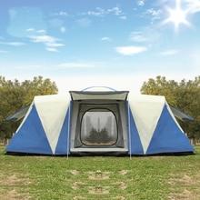 Ultralarge 8 12 אדם אחד אולם 2 שינה שכבה כפולה עמיד למים חזק קמפינג אוהל משפחת אוהל כרפס דה קמפינג ביתן גדול